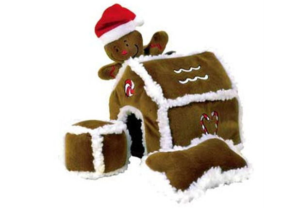 Kyjen Gingerbread House Plush Interactive Puzzle Squeaking Dog Toy