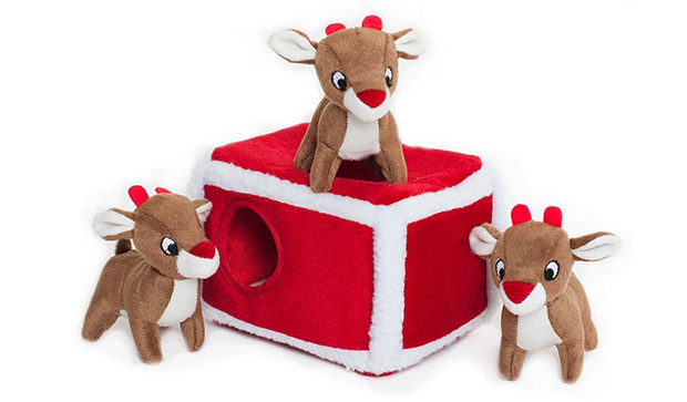 Zippy Paws Holiday Reindeer Pen Burrow Squeaky Plush Hide and Seek Toy
