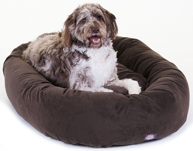 "Majestic Pet 52"" Suede Bagel Dog Bed"